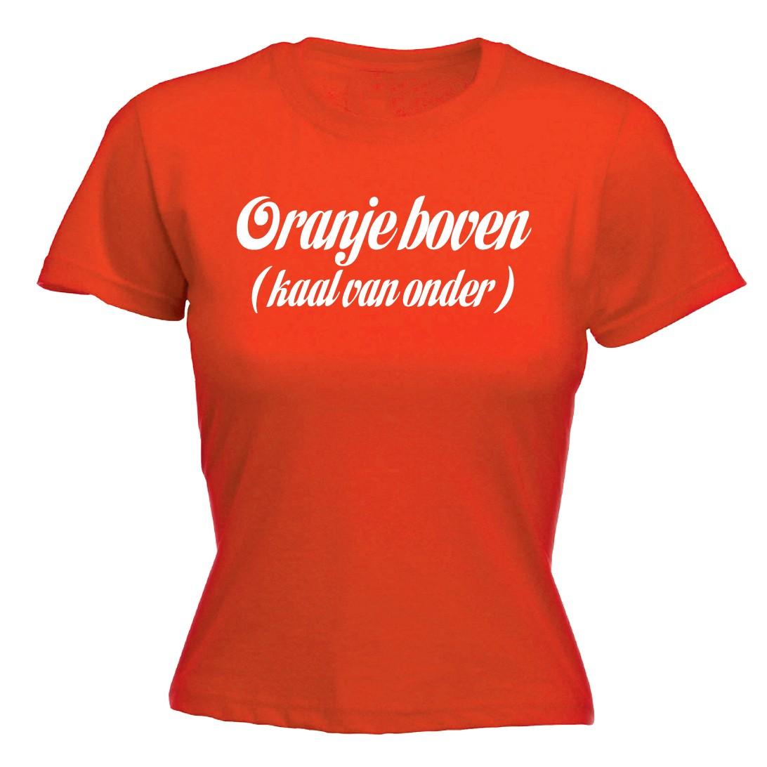 WK T- shirt dames Oranje boven kaal van onderen