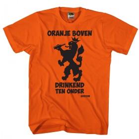Oranje boven drinkend ten onder Oranje shirt
