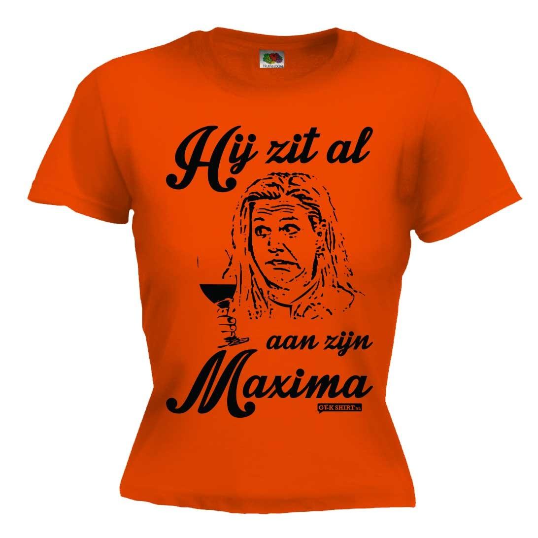 Hij zit al aan zijn Maxima Koningsdag Dames shirt 2016