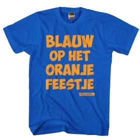 Blauw op het oranje feestje Leuk oranje shirt