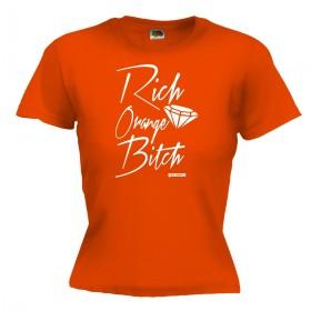 Rich orange bitch Dames shirt oranje